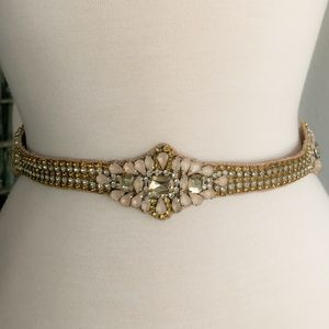 J.Crew jeweled belt Amber and pink